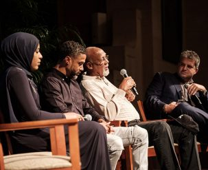 David Zirin, a sportswriter for The Nation, hosts a panel of athletes to talk about Sports and Community: fencer Ibtihaj Muhammad, basketball player Mahmoud Abul-Rauf, and track athlete John Carlos.