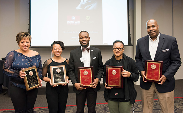 Photo (left to right): Sherri Lawson Clark, Jenny Vu Mai, William Gibson, Jessica Lee Johnson and Dana Walker. Courtesy of Winston-Salem State University.