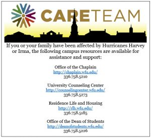 Care Team Links for Community members affected by recent hurricanes.