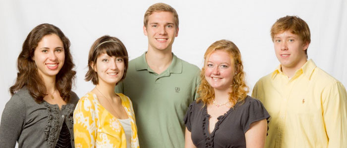 2010 Senior Class Scholars Alissa Guarnaccia, Joanna Reinhold, Julian Backus, Maura Connolly, and Justin Conniff.