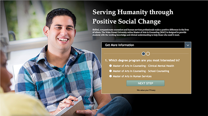 Screenshot of online counseling homepage