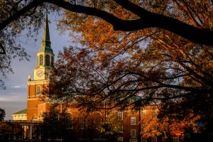 Wait Chapel rises above the Wake Forest campus on a cool fall morning on Saturday, October 31, 2015.
