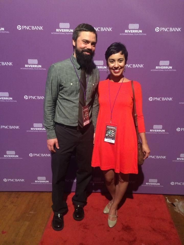 Tom Green (MFA '16) & Monica Berra (MFA '16) represent their 1st-year film ,Teaching From the Floor, at RIverRun.