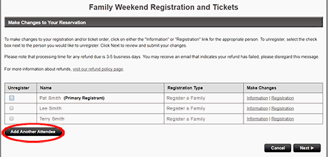 """To add Additional Attendees, click <strong>""""Add Another Attendee""""</strong>."""