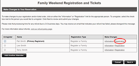 """To add or remove items from your registration, click <strong>""""Registration""""</strong> to the right of an attendee's name."""