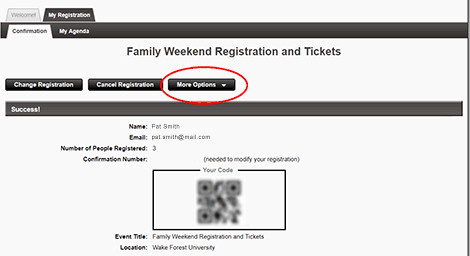 """To print the summary or resend your confirmation, click <strong>""""More Options""""</strong>."""