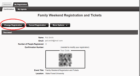 """To make changes to your order or the attendees in your party, click <strong>""""Change Registration""""</strong>."""