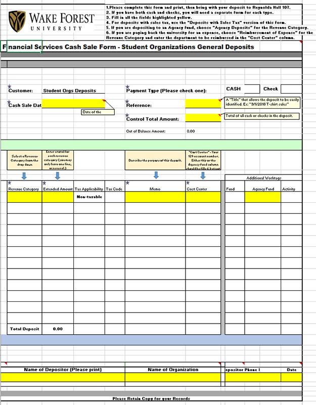 General Deposit (no sales tax) form for Cashier's Window deposits.  <em>Click to download. See below for Sales Tax Deposit form.</em>