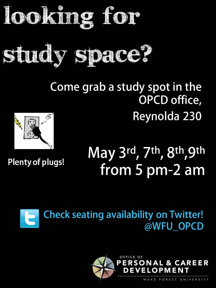 Looking For A Quiet Place To Study For Exams? On May 3rd, 7th,