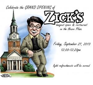 William Warren drew this cartoon for the grand opening of Zick's in September.