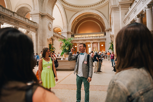 """Nick Gray ('04) guides a self-curated tour at the Metropolitan Museum of Art as part of his """"Hack The Met"""" program. Photography by Joe Martinez ('06)"""