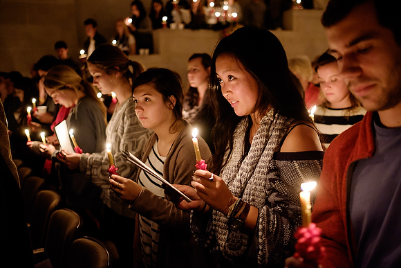 Wake Forest University hosts its 50th annual Lovefeast service in Wait Chapel on Dec. 7, 2014.