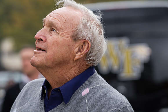 Wake Forest hosts its Homecoming 2013 celebration at BB&T Field on Saturday, October 19, 2013. Golf legend Arnold Palmer opens the gate and rides the motorcycle to start the game.