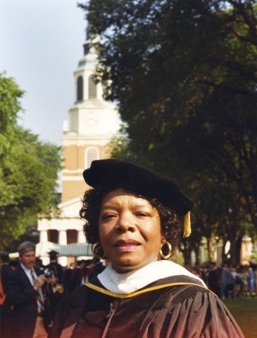 "Maya Angelou (LHD '77) told graduates to make the constants in their lives ""death, taxes, courage and love."""