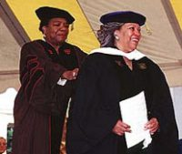 Toni Morrison receives her honorary doctor of letters from Reynolds Professor of American Studies Maya Angelou.