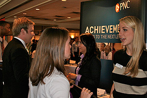 Students talking to a PNC representative