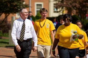 President Nathan Hatch with students