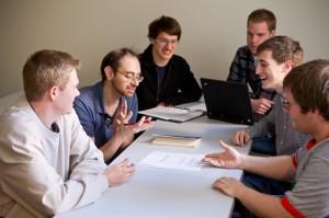 Professor of Mathematics Ken Berenhaut with, from left, Kris Patton, Jean Merlet, Ross Hilton, Scott Rabidoux and Scott Hubbard.