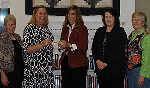 Doris Surratt, library assistant;  Pat Gwyn, branch librarian;  Dr. Michele Gillespie;  Cristi Stevens, president of the Friends of the Mount Airy Public Library; and Dawn Walker, member of the Friends of the Library.