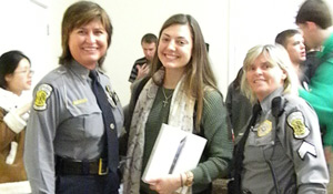 From left: Chief of Police Regina Lawson, freshman Jessica Lenoch, sergeant Lesia Finney