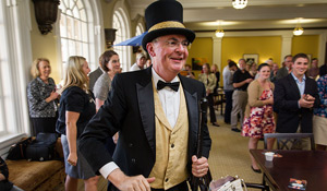 President Nathan Hatch dressed as the original Demon Deacon at the United Way kickoff event.