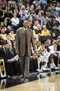Wake Forest men's basketball takes on Carolina in Joel Coliseum on Wednesday, January 21, 2015. Head coach Danny Manning leads from the bench.