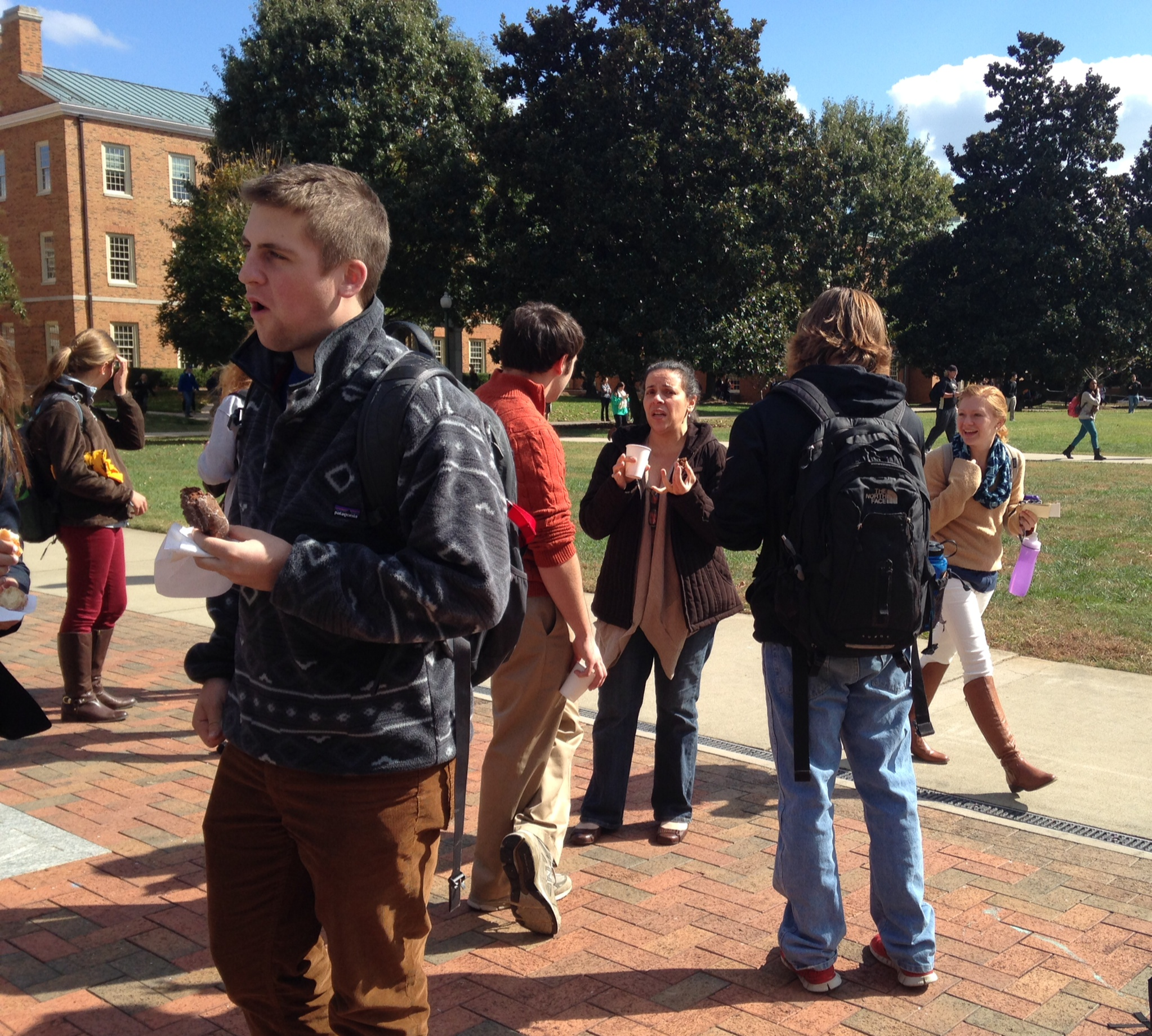 Students and Faculty celebrate WFU's exceptional teaching with coffee and doughnuts