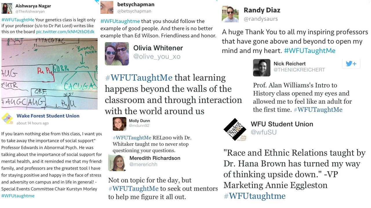 Pic of Various Tweets from the #WFUTaughtMe social media campaign