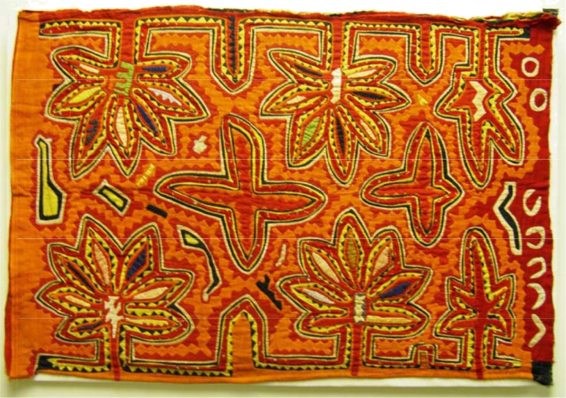 mola embroidery-orange